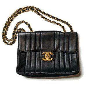 Chanel Vertical Black Caviar Leather Shoulder Bag